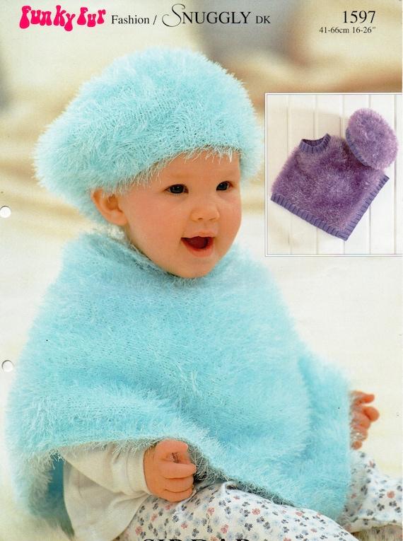 Baby Knitting Pattern Baby Furry Poncho Beret Baby Poncho Etsy