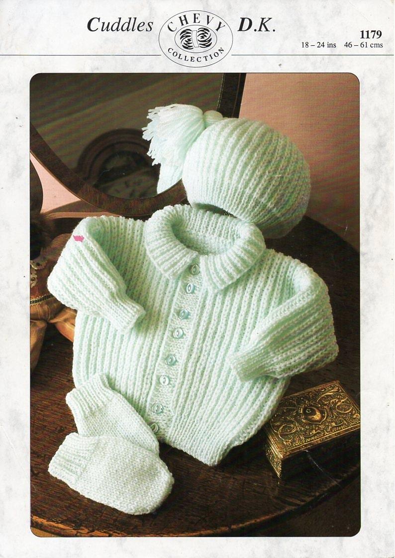 428111fab8f6 Baby collar jacket hat mitts set knitting pattern PDF DK