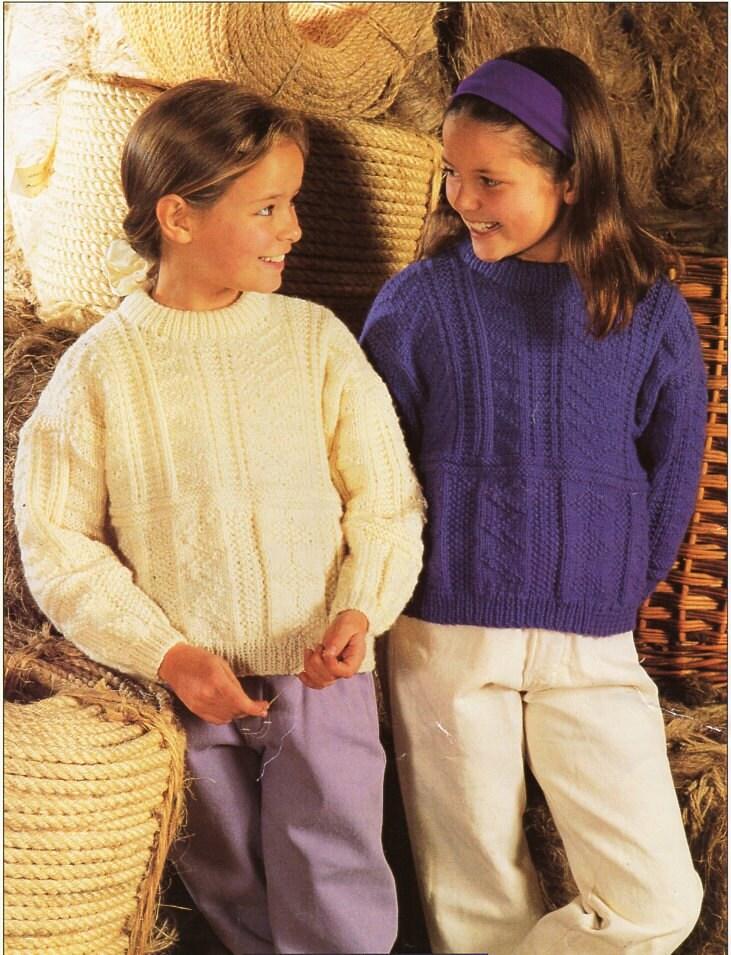 e7de5531c childrens Guernsey sweater knitting pattern PDF crew neck patterned jumper  22-30