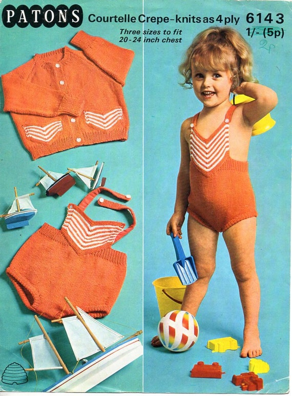 Baby Childs Swimming Costume Cardigan Knitting Pattern Pdf Etsy