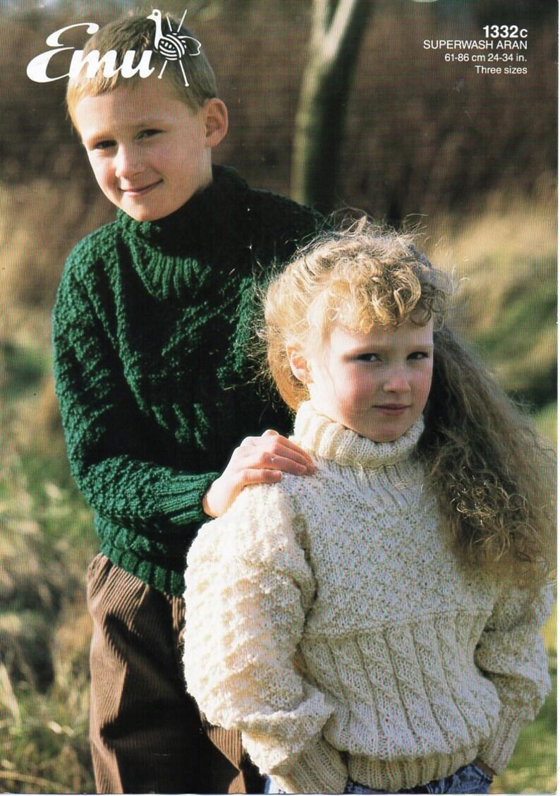 afa2d3565 Childrens aran sweater knitting pattern pdf cable jumper polo