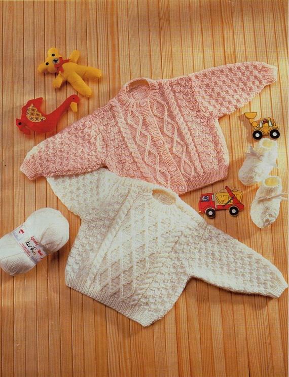 Baby Aran Sweater Cardigan Knitting Pattern Pdf Premature Baby Etsy