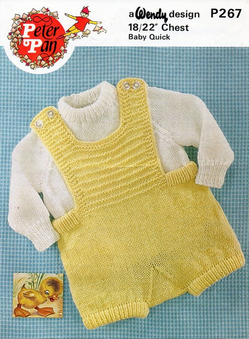 e70f8e97c75a Vintage baby romper dungarees sweater knitting pattern pdf DK