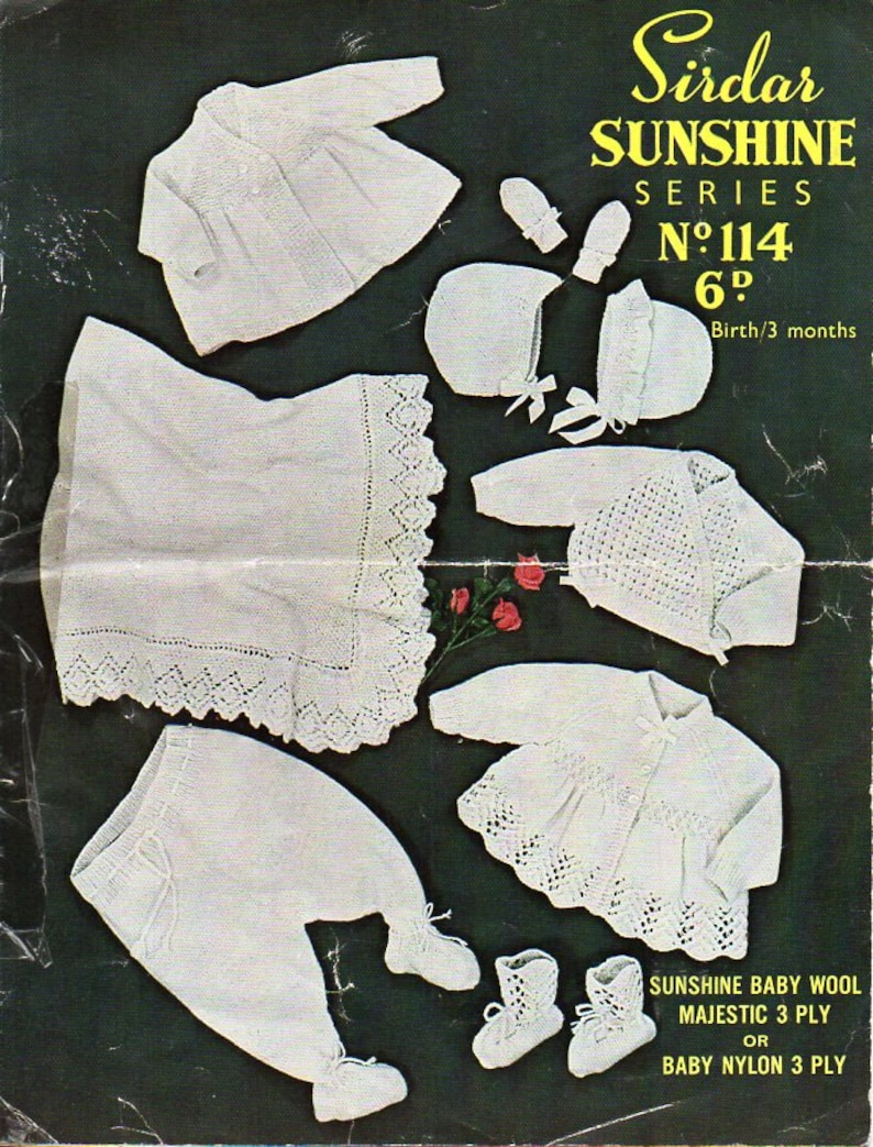 7bf5bb9c2 Vintage baby layette knitting pattern pdf square shawl matinee