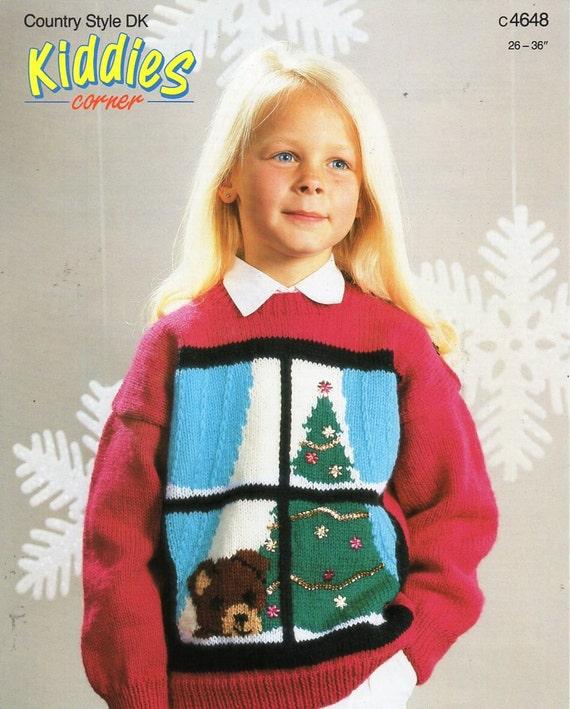 Childrens Christmas Jumper Knitting Pattern Pdf Christmas Tree Etsy