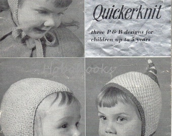 vintage baby / childs / childrens hats knitting pattern PDF download helmets pixie hats 6 months-5 yrs QK 5ply  pdf instant download