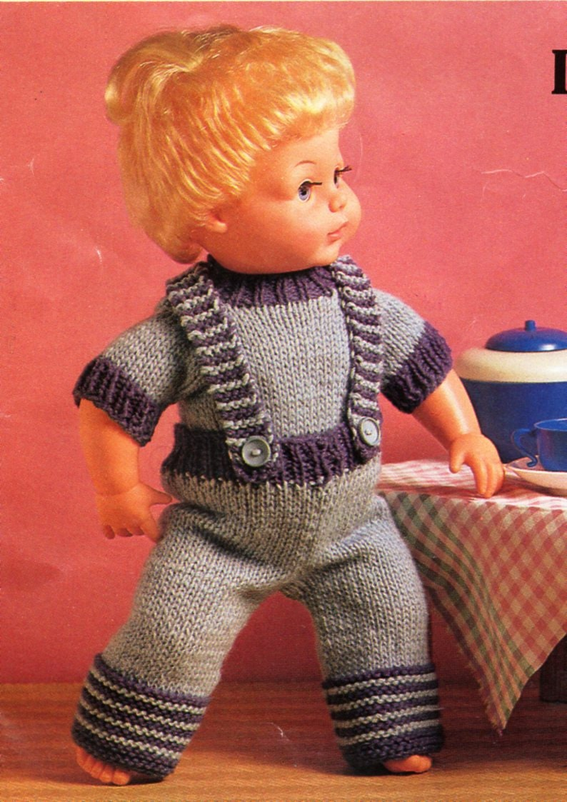 e1bb568e5 baby dolls clothes knitting pattern PDF dolls dungarees sweater trousers  braces outfit 9-16 inch doll DK light worsted 8ply Instant download