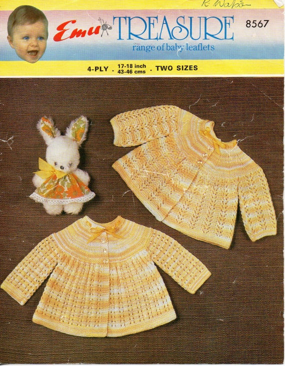 """22/"""" # 321 Vintage Knitting Pattern Baby/'s Cardigan 4 ply Double Knit 18/"""""""