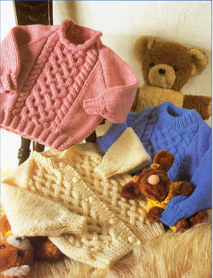 baby childrens aran sweater cardigan knitting pattern pdf ...