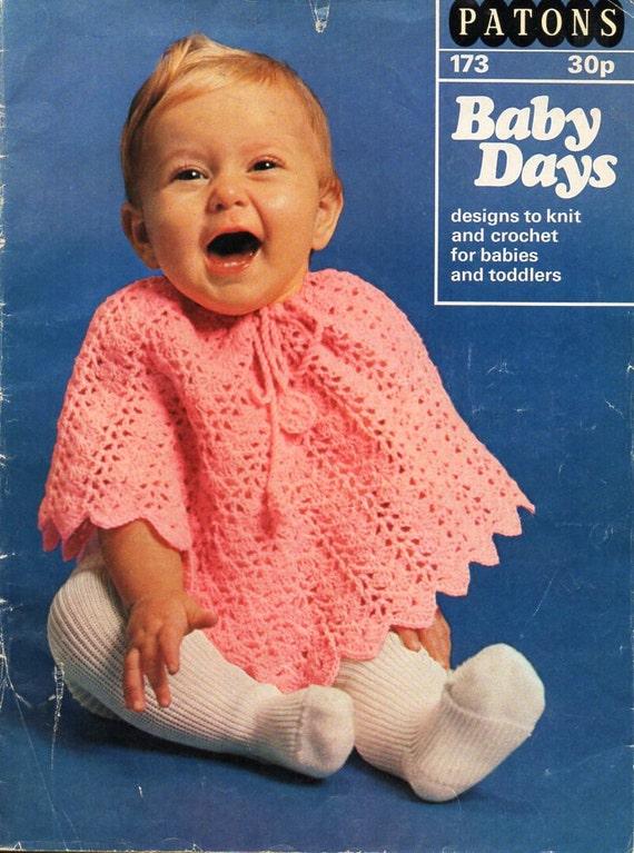 Vintage Baby Crochet Poncho Crochet Pattern Pdf 4ply Baby Poncho