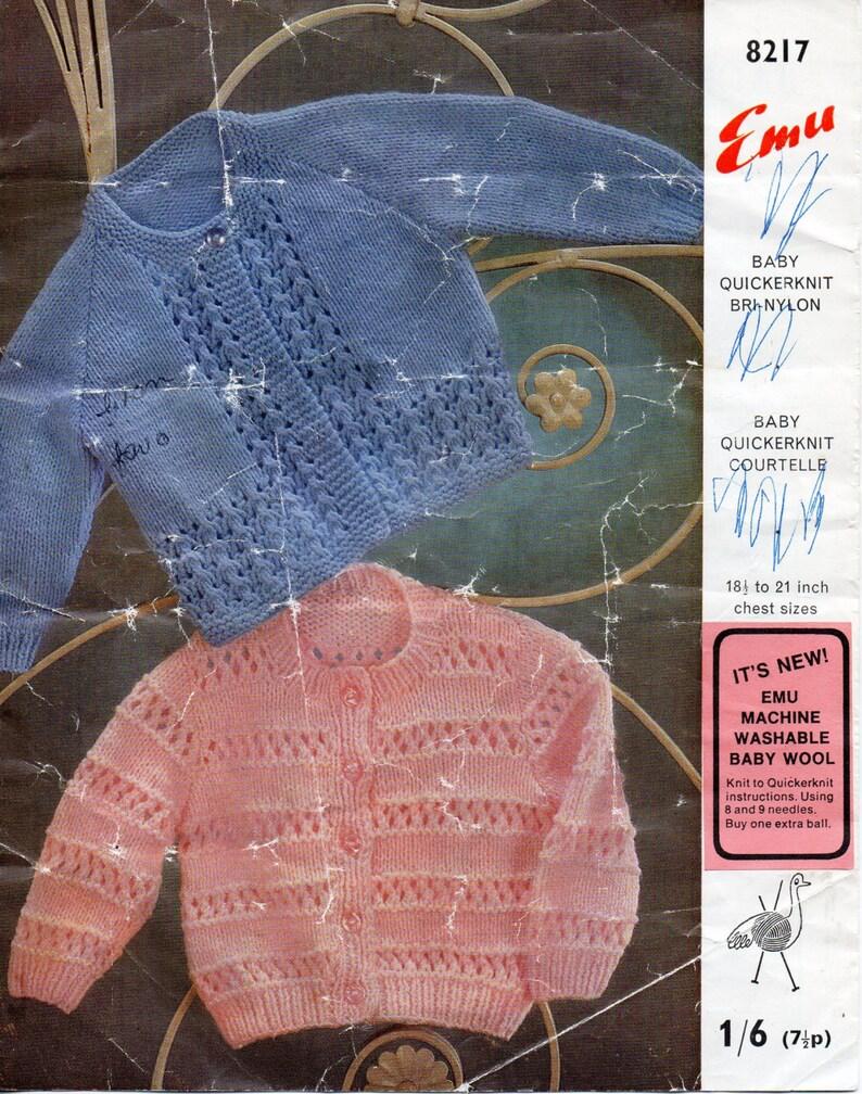 0ed668325 Baby Cardigans Knitting Pattern PDF 1960s Baby Round Neck