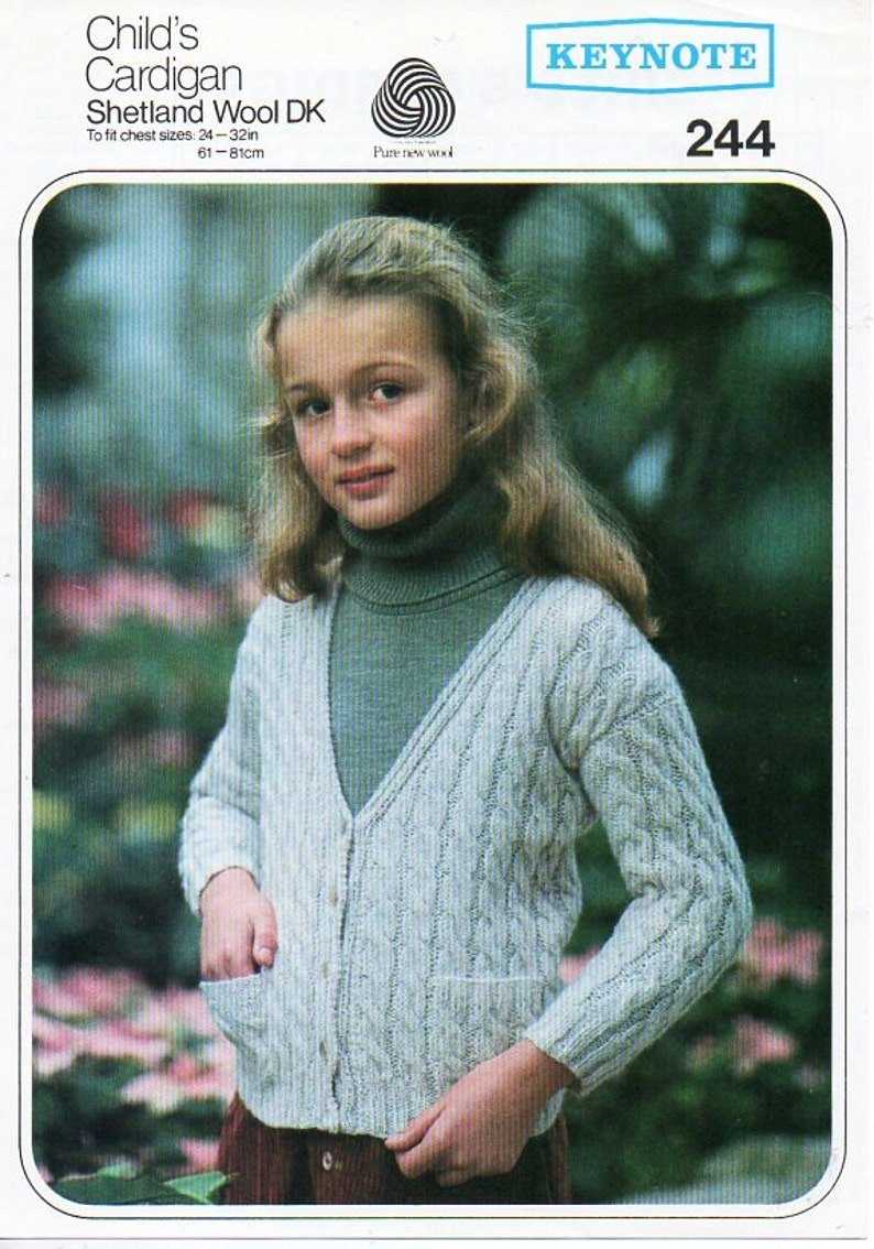 fede451840c7 Vintage childrens cable cardigan knitting pattern pdf cable