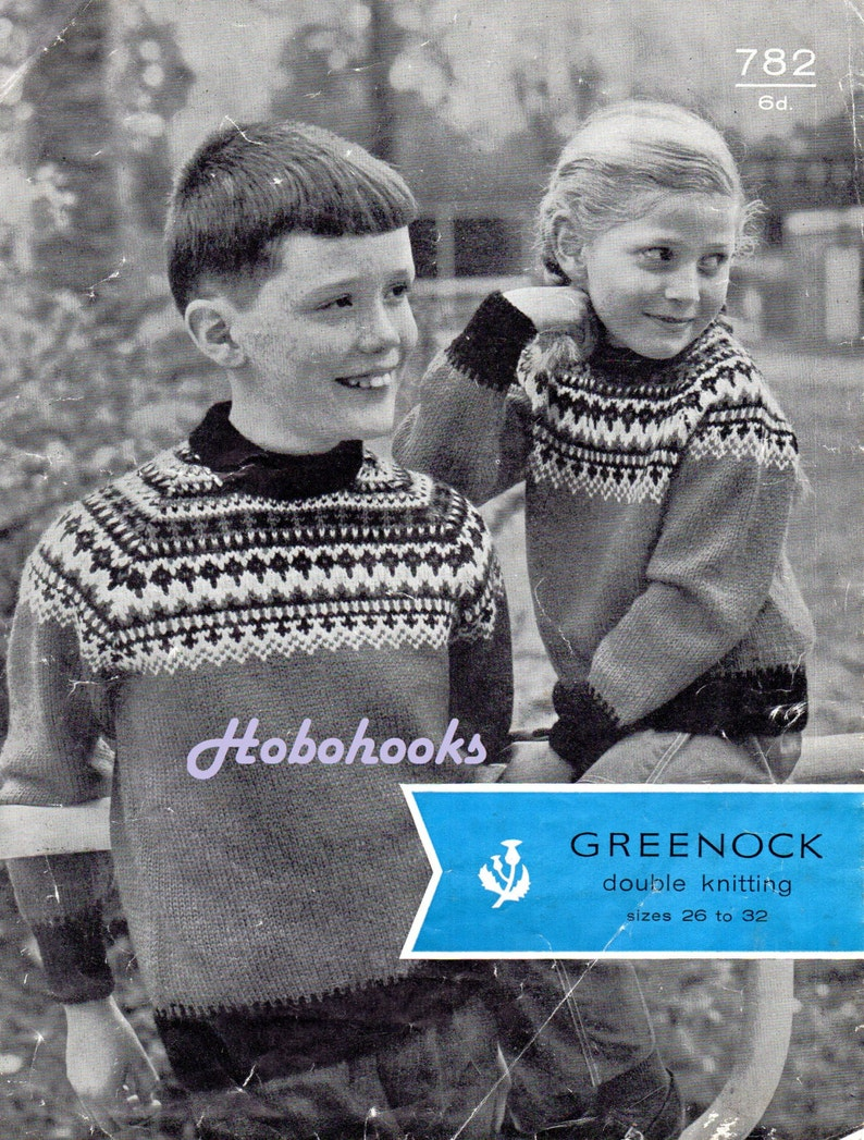d0550eeae540 Vintage childrens fair isle sweater knitting pattern pdf
