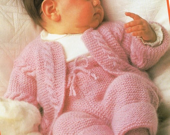 baby jacket trousers & bottees knitting pattern 18-20inch DK baby knitting pattern PDF Instant download