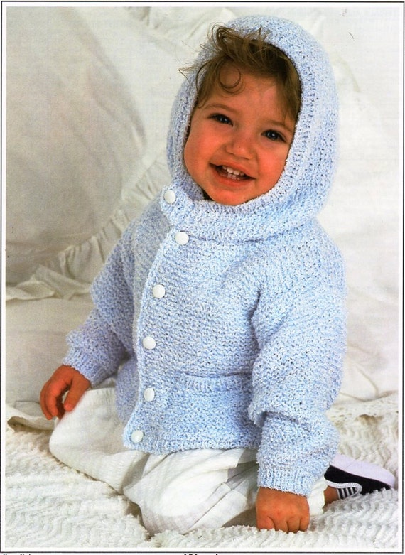 3bfc16810a60 baby hooded coat knitting pattern PDF baby jacket with hood baby cardigan  18-26