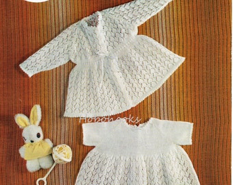 "baby dress matinee coat knitting pattern pdf download baby girls matinee jacket cardigan 2 ply dress 2 ply cardigan 18"" pdf instant download"