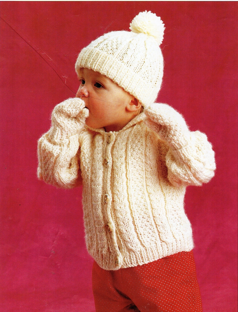 6f3497c19651 Baby aran jacket hat mittens knitting pattern pdf baby cable