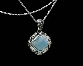 Larimar Natural AAA Premium Quality Necklace .925 Sterling Silver