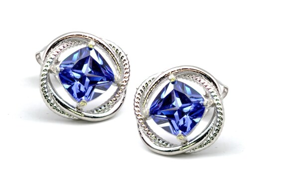 Stunning Tanzanite Infinity Earrings 8mm .925 Sterling Silver