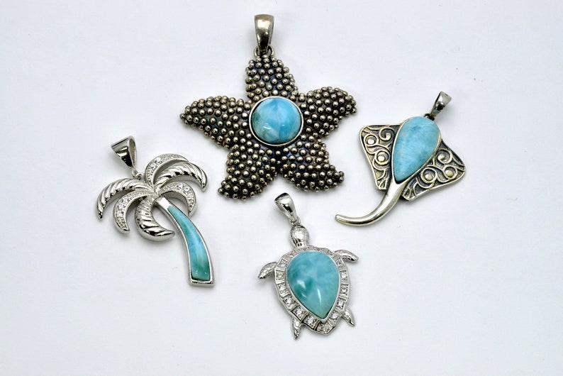 Larimar Pendants 4 Pendents Premium Jewelry .925 Sterling Silver Wholesale