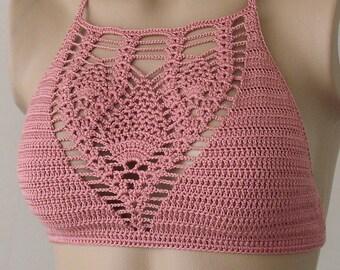 Crochet Top, Rose Color Bustier, Women Bikini Top, Swimwear Top, Beach Wear,  2018 Summer Trends !!! FORMALHOUSE