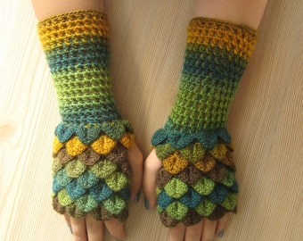 EXPRESS SHIPPING! dragon fingerless gloves, dragon scale gloves, crocodile gloves, winter gloves, gift for her, christmas gift / Formalhouse