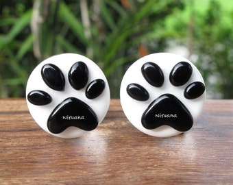 """Black & White Puppy Dog Paw's Glass Plugs - Custom Color Combinations Gauges 00g 7/16"""" 1/2"""" 9/16"""" 5/8"""" 9.5 mm 10 mm 11.1 mm 12.7 mm - 16 mm"""