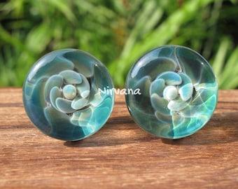 """Ocean Flower Plugs Pyrex Glass Gauges 00g 7/16"""" 1/2"""" 9/16"""" 5/8"""" 3/4"""" 1"""" 9.5 mm 10 mm 12 mm 14 mm 16 mm 18 mm 20 mm 25 mm"""