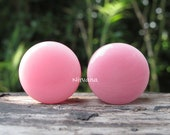 Solid Pink Color Glass Plugs 1 Pair (2 Pieces) 14g 12g 10g 8g 6g 4g 2g 0g 00g 7 16 quot 1 2 quot - 1 quot 1.6 mm 2 mm 2.5 mm 3 mm 4mm 5 mm 6 mm - 25 mm