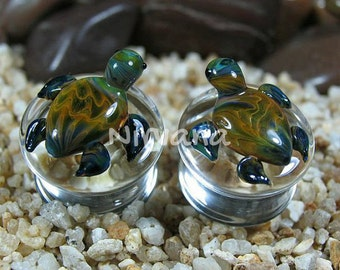 "Earth Turtles Pyrex Glass Plugs 1 Pair  2g 0g 00g 7/16"" 1/2"" 9/16"" 5/8"" 3/4"" 1"" 6.5 mm 8 mm 10 mm 12 mm 14 mm 16 mm 18 mm 20 mm 22 mm 25 mm"