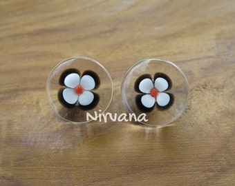 """Lucky Black & White Flower Glass Plugs - Custom Color Combinations Gauges 00g 7/16"""" 1/2"""" 9/16"""" 5/8"""" 9.5 mm 10 mm 12 mm 12.7 mm 14 mm 16 mm"""