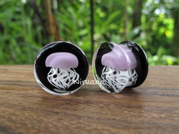 Pair of Glass Double Flared Amber Purple Jellyfish Plugs Cobalt