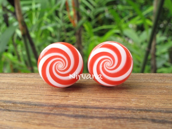 Pair Black and Red Candy Stripe Pyrex Glass Plugs 1//2 inch 13mm