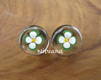"Green Flower Glass Plugs Custom Color Combinations Gauges Pyrex 00g 7/16"" 1/2"" 9/16"" 5/8"" 9.5 mm 10 mm 11.1 mm 12 mm 12.7 mm 14 mm 16 mm"
