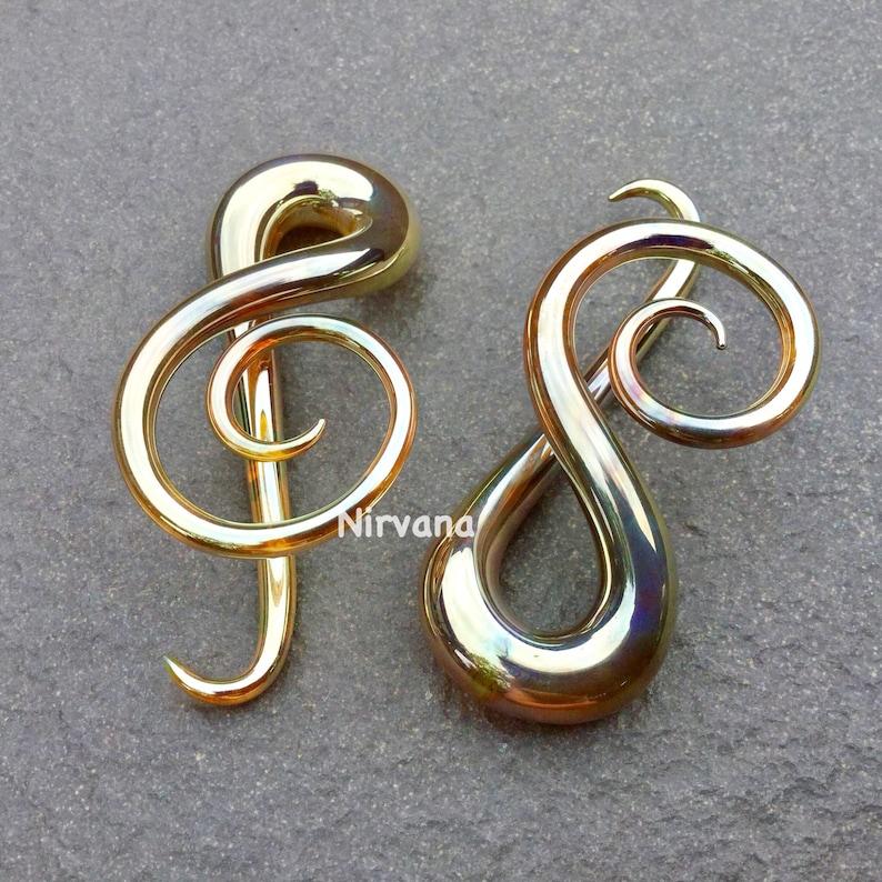 Silver/Gold G Clef Music Ear Shapes Spirals 10g 8g 6g 4g 2g 0g 00g 7/16