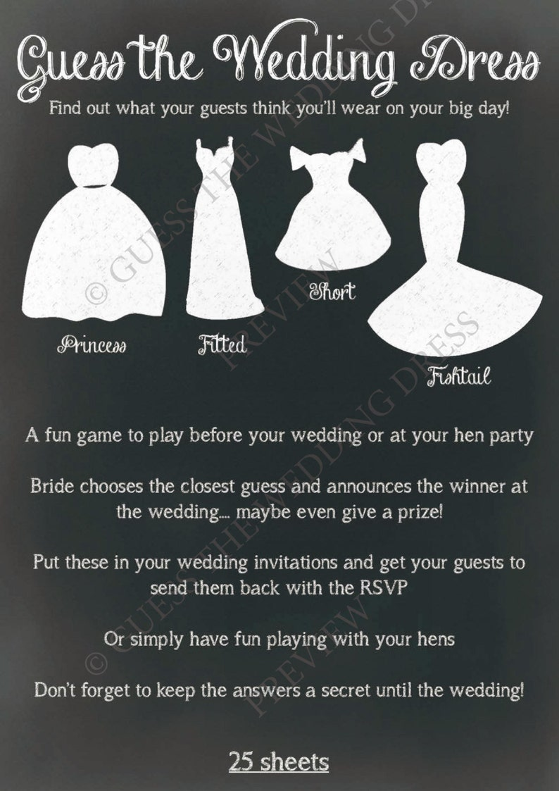 921899c2f5b Guess The Wedding Dress ® Hen Party Game or Accessory for