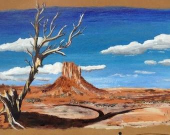 "Monument Valley - Arizona - Original painting on leather ""Navaho land """