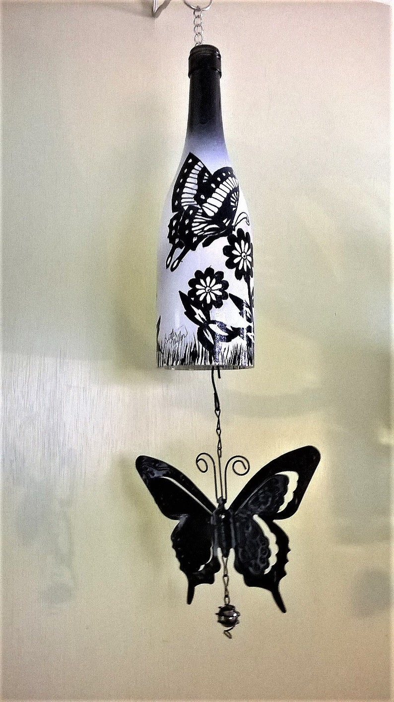 wine bottle black and white wind chime