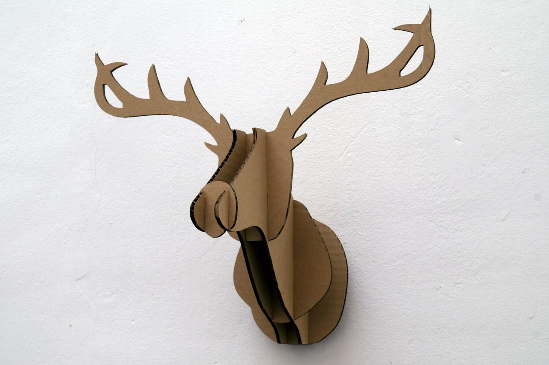 Cabeza de ciervo de cart n etsy - Cabeza ciervo carton ...