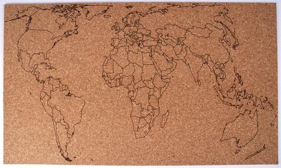 Cartina Mondo In Sughero.Mappa Del Mondo Registrati Su Foglio Di Sughero Etsy