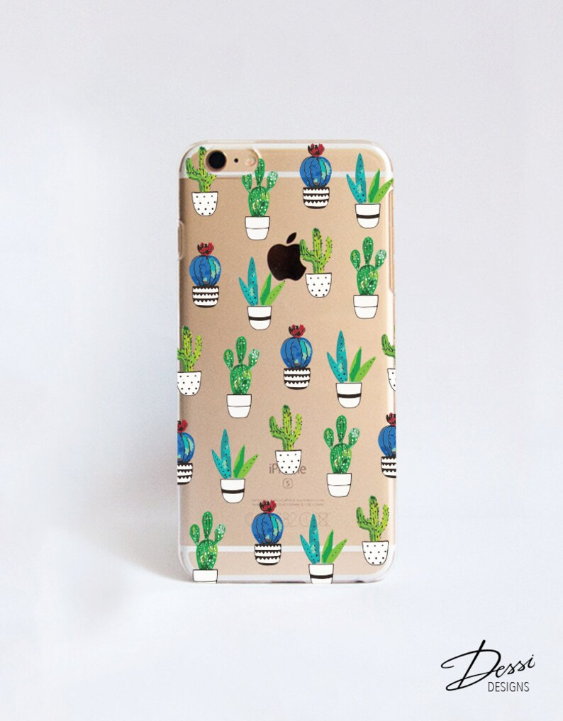 Transparent Cactus Cell Phone Case Design for iPhone Samsung image 0