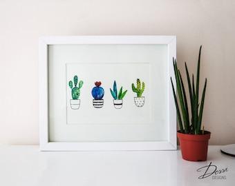 Watercolour Cactus Wall Print   5' 'x 7'' (13cm x 18cm ) Printable Art Print, Cactus Poster
