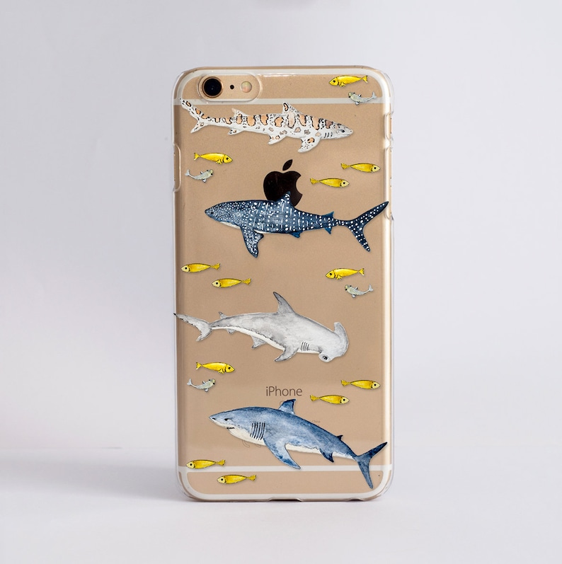 reputable site 0c779 ff9b7 Sharks - Clear Phone Case. Transparent Phone Case Design for iPhone,  Samsung and Google Cases