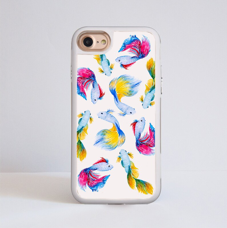 Rainbow Fish Watercolour Rubberised Phone Case for iPhone 7, 7 Plus, iPhone  8, 8 Plus and iPhone X and XS  Transparent Impact Bumper case