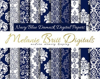 NAVY BLUE DAMASK digital paper pack, elegant damask, damask background, damask pattern, scrapbook paper, printable pdf, instant download