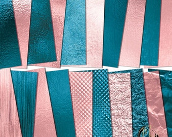Foil Digital Paper Download, pink & turquoise with metallic foil textures background clipart 20 12x12 JPG