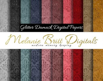 GLITTER DAMASK digital paper pack, (silver-black-blue-purple-pink-red-brown-gold) scrapbook papers, printable pdf, instant download