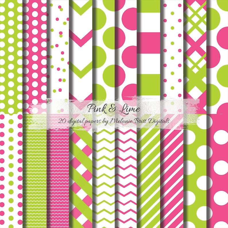 Pink Lime Digital Paper Pattern Paper Scrapbook Papers Etsy