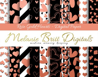 ROSE GOLD HEARTS digital paper, scrapbook papers, Valentines Day, Wedding, Anniversary, digital paper pack, printable paper pdf
