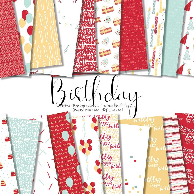 Girl birthday digital paper pack Happy Birthday Pattern image 0